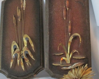 MOVING SALE Pair of Cattails Copper Sculpture Wall Hangings. Nature Art.