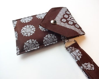Recycled 3-Pocket Necktie Wristlet Wallet Brown and White