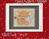 Valentine Mouse 4 Cross Stitch Pattern - Instant Download PDF - Modern Cross Stitch Design