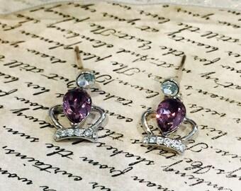 Swarovski Purple Crystal  Stud Earrings