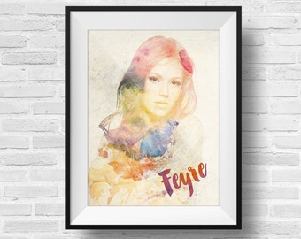 ACOMAF Feyre Pop Art 8 x 10 Watercolor Print - A Court of Mist and Fury Inspired ACOTAR Feyre Rhysand Book Nerd Fandom Fan
