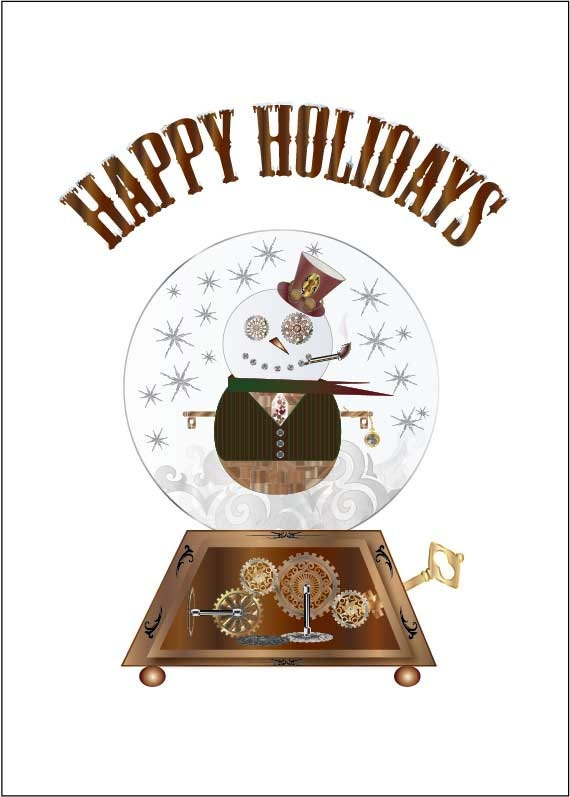 Printable Steampunk Snowman Holiday Card