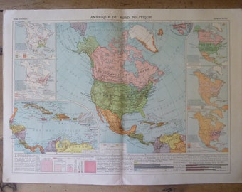Antique North American Political Map Print Circa 1912 2 Page Double Sided