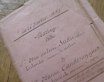 Antique French Paper, Documents, Legal, Hand Written Dated 1865