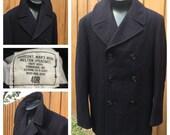 VINTAGE 1970s NAVY Melton Wool PEACOAT -  Pembroke Inc. dsa100-73-c0262 - Mens Size 40R