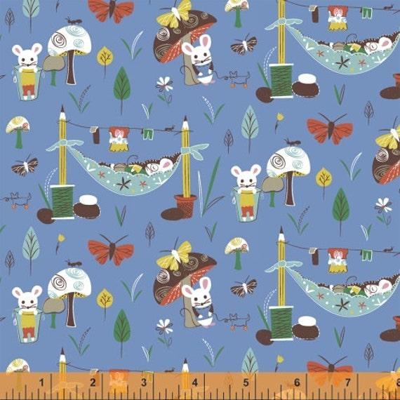 Little Mice (Blue) - Mouse Camp - Erica Hite - Windham Fabrics - 1 Yard