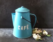 French Vintage enamel  Kettle, Large Coffee Pot, Vintage , Blue Kettle, Camping Cookware, French Country Kitchen