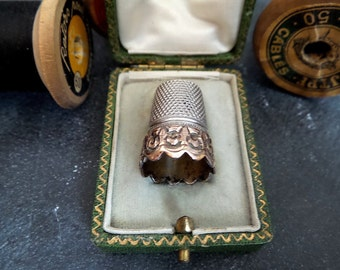 Antique French Thimble in original leather box .Collectible thimble