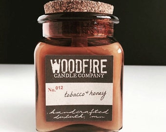 TOBACCO & HONEY Amber Glass Apothecary Cork Topped Jar Wood Wick Soy Candle Fall Candle