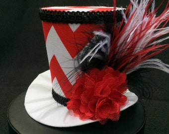 Red and White Chevron Mad Hatter Mini Top Hat for Dress Up, Ugly Sweater Party, Tea Party or Photo Prop