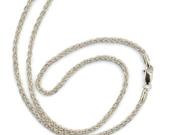 "Sterling Silver 2.5 mm Wheat Chain / Thick Silver Woven Necklace / 16"" to 20"""
