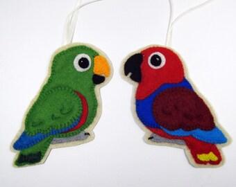 Pair Eclectus Parrots, male & female, 2 Felt Bird Ornaments