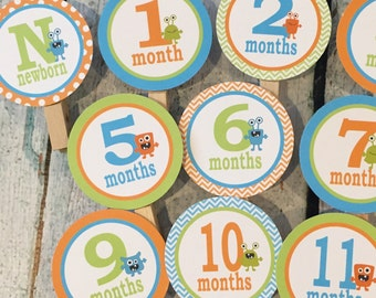 CUTE MONSTER Theme 1st Birthday Photo Clips Banner Newborn - 12 months Light Blue Orange Lime Green