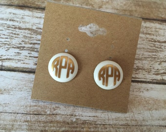 Gold and White Monogrammed Earrings//Circle Monogram