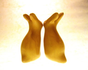 Honey Bunnies gold rabbits pair sculpture OOAK hand made polymer clay