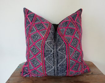 "Hemp  Batik,18""x18""Vintage Textile Decorative Cushion cover, Tradition Ethnic fabric from Thailand"