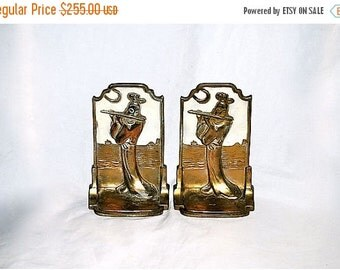 ON SALE Bookends Pompeian Bronze Moonlight Sonata 1920s Flute Player