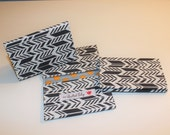 Card Wallet - White & Grey Arrows - Credit Card Holder, Student ID, Gift Card, Fabric Card Wallet