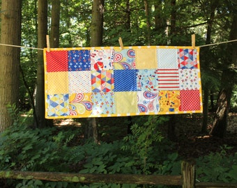 Table Runner - 4th of July - Summer BBQ Kitchen Quilted Red White Blue Yellow Holiday Patriotic USA