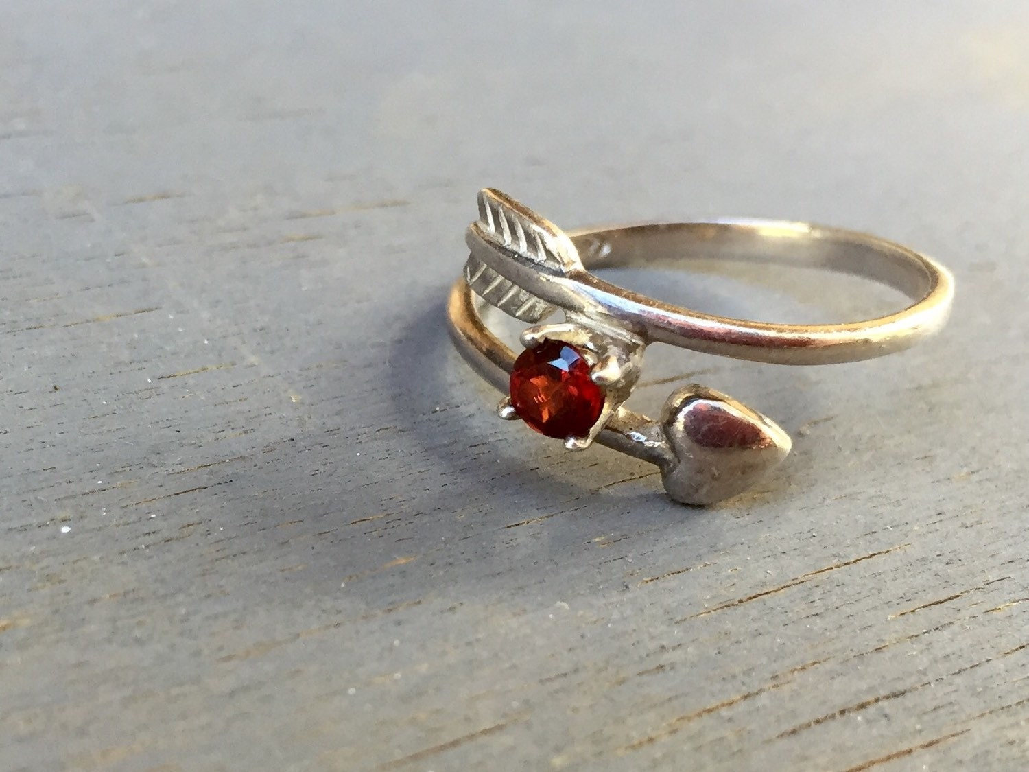 Arrow Ring Vintage Sterling Silver Heart Arrow Red Gemstone