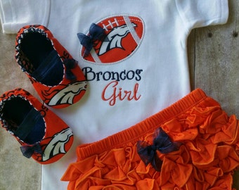 Denver Broncos Girl Shirt, diaper cover and Matching Booties