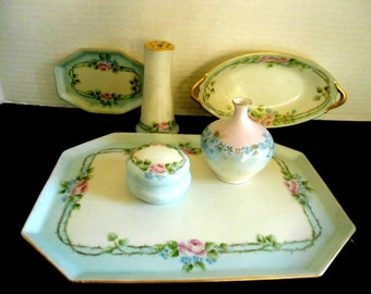 Victorian Antique Limoges 6pc Vanity Set Blue and Pink on Ivory Roses and Forget Me Nots Hand Painted Circa. Early 1900s