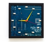 Geeky Wall clock - recycled Computer clock - blue circuit board clock- ready to ship c6421