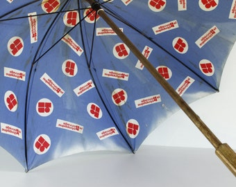 French Vintage Umbrella...Advertising Umbrella, Red, White and Blue....Shabby Chic