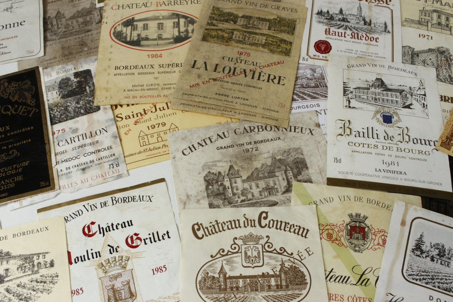 Vintage French Wine Labels...45 Authentic Labels...Wedding