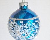 Vintage Blue Christmas Ornaments Pyramid Set of 6 Silver Sparkles