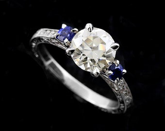 14K White Sapphire Diamonds Hand Engraved Engagement Ring Setting Mounting