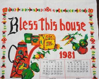 BLESS THIS HOUSE 1981 Calendar Kitchen Towel - Linen - Red Green Yellow