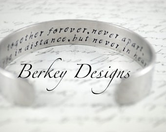 Together Forever Never Apart Maybe in Distance But Never in Heart Personalized Secret Message Hand Stamped Bracelet- Personalized Bracelet