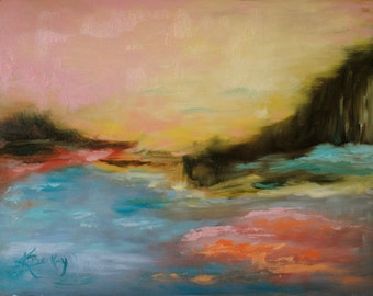 Pink Sky Original Painting by Kelly Berkey