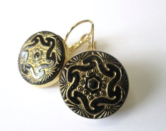 Black glass vintage button earrings, Czech glass buttons, gold lever backs