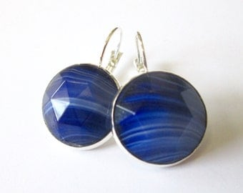 Vintage button earrings, blue glass buttons, silver lever backs