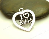 4 I Love Ballet Charms - Antique Silver Tone Metal - 24x21mm - Dance Charms, Message Charms - BM21