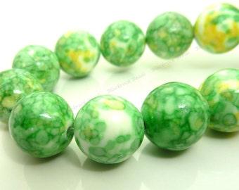 12mm Rain Flower Stone Ocean Jade Round Gemstone Beads - 15.5 Inch Strand - Lime Green, Yellow, White Beads - BG30
