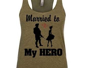 MArried to my hero, Military spouse shirt, Deployment shirt, Deployment strong, Milso, Military wife, Military clothes, Military wife