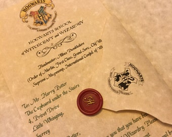 personalized hogwarts acceptance letter personalized harry potter letter hogwarts letter harry potter gift letter custom harry potter