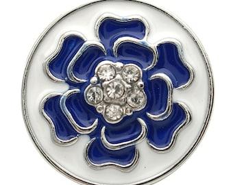 1 PC 18MM Blue Enamel Flower Rhinestone Silver Candy Snap Charm kb7121 CC1740