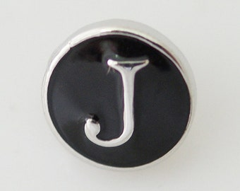1 PC -  12MM Alphabet Letter J Black Enamel Silver Charm for Candy Snap Jewelry kb6670-s Cc1701