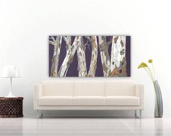 Extra large wall Art long oversized purple tree trunks masculine artwork huge modern print office living dining room decor bedroom art