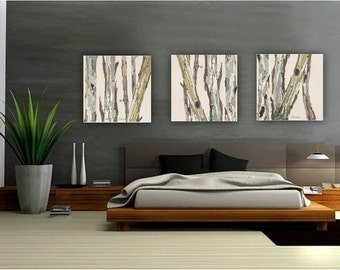 Extra Large Wall Art Oversized Triptych Set Dining Room Neutral Decor White Huge Canvas Print Tree