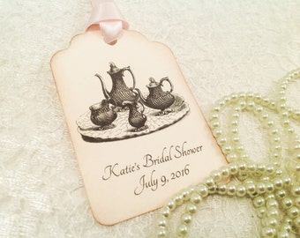 Bridal Tea Party Luncheon Favor Tags-Bridal Tea Favor Thank You Tags-Tea Set Gift Tags-Set of 12