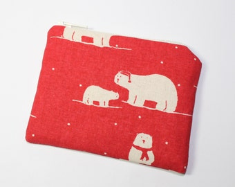 Coin purse, change purse, Christmas purse, Scandinavian print, red with polar bears, Scandi Christmas