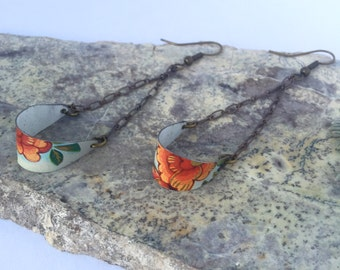 Swinging Tin // Recycled Tin Earrings // Repurposed Jewelry