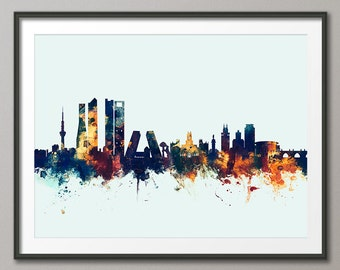 Madrid Skyline, Madrid Spain Cityscape Art Print (2360)