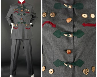 "Vintage MOSCHINO ""Nuts About You"" Nut Buttons Facial Expression Bavarian Jacket Pants Suit"