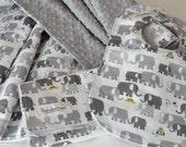 Best Blanket for babies Set, Gender Neutral Baby Blanket, Bib and Burp cloth Set, Minky backed blanket